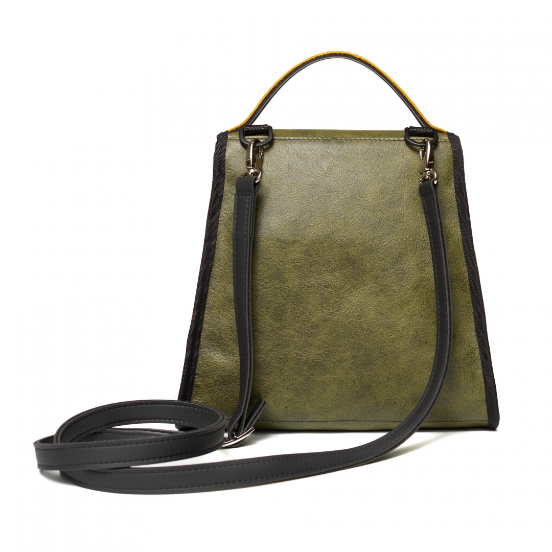 Special Leather bags / Bag trapezium shape , short handle and long shoulder strap (Maria La Verda)
